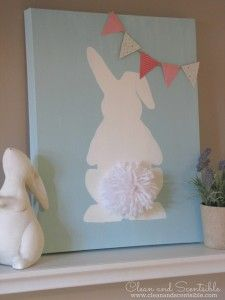 Easter Bunny Canvas with pom pom tail. Such a cute and easy Easter DIY craft idea! Easy Easter Crafts, Easter Projects, Diy Crafts, Easter Ideas, Easter Crafts For Adults, Spring Projects, Art Projects, Hoppy Easter, Easter Bunny