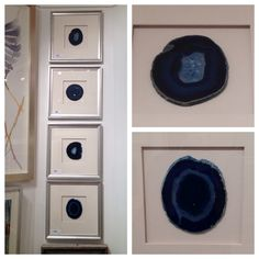 """Nature can be glamorous, and nothing illustrates that point better than agate!  The beauty of blues found in nature is unparalleled, and this set of four framed agate slices is stunning - and right on trend with the gorgeous deep blues seen everywhere at market.  And really, is blue ever """"out""""?  Not in my world!  Wendover Art Group (IHFC C215) (www.wendoverart.com) #HPMkt"""
