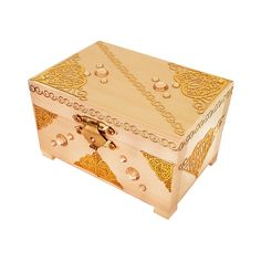 Beautiful and amazing hand decorated wooden box with feet and gold colored metal clasp and hinges. Decorated with various gemstones and stickers, that makes for a wonderful gift. A handsome gold clasp closes the box easily and smoothly. This box is perfect suitable for small gifts as amulets or small jewelries.  External dimensions (cm) - 9 (w) x 6 (d) x 6 (h) Internal dimensions of the lower part of box when open (cm) – 7.5 (w) x 4.5 (d) x 3.1 (h)