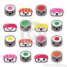 Sushi bonito de Kawaii - ícones japoneses do vetor do alimento ajustados