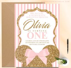 Minnie mouse glitter invitation, pink stripes pink and gold - Pink Nerd Printables Minnie Mouse Rosa, Minnie Mouse Theme Party, Minnie Mouse Birthday Invitations, Minnie Mouse First Birthday, Pink Minnie, Baby Girl First Birthday, Pink And Gold Invitations, Glitter Invitations, Shower Invitations