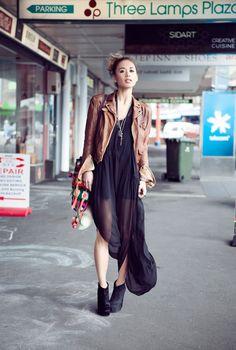 Therese Rawsthorne dress, vintage slip, Zara jacket, vintage bag, BCBG Mendel boots