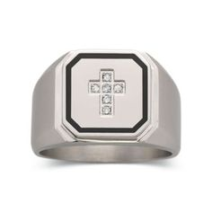 Mens Diamond Accent Stainless Steel Cross Ring  found at @JCPenney