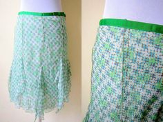 Spring Sale: green godet skirt (30 inches), geometric printed skirt by VintageHomage on Etsy