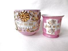 2 Antique Pink Luster Cups Forget Me Not, Victorian German Porcelain Gold Lustre, Female Gift, Pink Interior Decor, Antique Cabinet Cups by CuriosAnCollectibles on Etsy