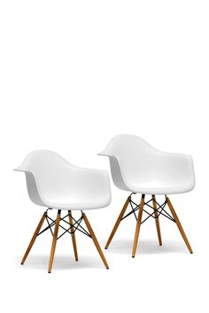 Pascal White Plastic Mid-Century Modern Shell Chair - Set of 2