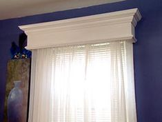10 Budget Updates and Easy Cosmetic Fixes: A wooden cornice box is an easy project for beginner woodworkers. You can cover it with fabric, paint it or add crown molding. Cornices make windows look…More Home Improvement Projects, Home Projects, Curtains Living Room, Home, Diy Home Improvement, Home Diy, Window Treatments Bedroom, Wood Valance, Bedroom Windows