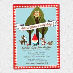 Printable Baby Shower Invitation, Woodland Animals Creatures Gnome, Forest, Deer, Owl, Squirrel, Fox, DIY digital gingham via Etsy