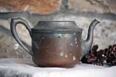 Vintage Rustic Copper Teapot Kettle Patina Antique by OneDecember