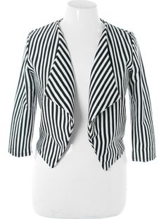 7f6d046f83d Plus Size Sexy Bold Striped Half Jacket