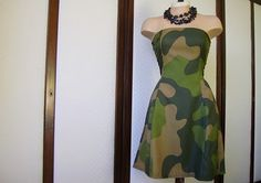 strapless military cocktail dress