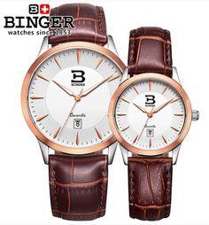 133.83$  Buy now - http://alikij.worldwells.pw/go.php?t=32334224568 - Binger High Grade Fashion Business Leather Watch Designer Lover Quartz Wristwatch Rose Gold Men Ultra Thin Watches Switzerland 133.83$