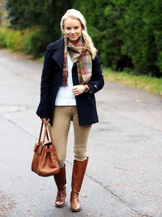 khaki, navy  plaid