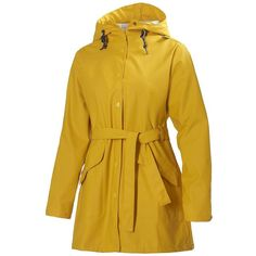 Helly Hansen Kirkwall Rain Jacket ($125) ❤ liked on Polyvore featuring outerwear, jackets, yellow, brown rain jacket, helly hansen, yellow rain jacket, fleece-lined jackets and tie belt