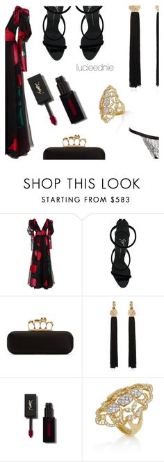 """""""Love burns like coals in a long stormy night."""" by lucieednie ❤ liked on Polyvore featuring Carolina Herrera, Giuseppe Zanotti, Alexander McQueen and Yves Saint Laurent"""