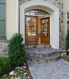 Exterior: Double Front door, maybe back of the house instead of sliding doors
