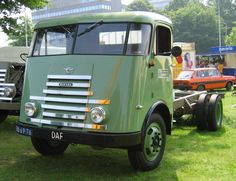 Old green DAF truck at truck show