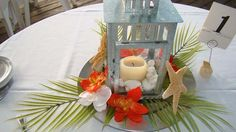 latern and starfish tropical centerpiece!