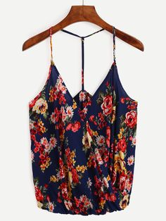 Shop Surplice Front Flower Print Cami Top - Blue online. SheIn offers Surplice Front Flower Print Cami Top - Blue & more to fit your fashionable needs.
