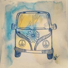 Bohemian Ink Studios on Etsy. Zentangle, drawing, sketch, doodle, kombi, vw, peace, hippy, gypsy