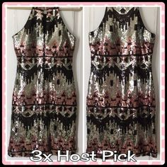 My Michelle Sequin Dress Be the star in the room. This beautiful sequin halter neckline has a keyhole back, is silver, black and pink. Hand washable. Worn once. Like brand new. JUNIOR SIZE 11.                                   No trades. My Michelle Dresses
