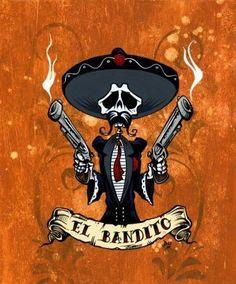 Day of the Dead Artist David Lozeau, Bandito Portrait, David Lozeau Dia de los Muertos Art
