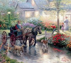 A painting by Thomas Kinkade. I've never come across his work before, however, this caught my attention. I could get a fair few ideas from this whole beautiful painting. Thomas Kinkade Art, Thomas Kincaid, Kinkade Paintings, Art Thomas, Image Nature, Cottage Art, Paintings I Love, Oil Paintings, Paintings Famous