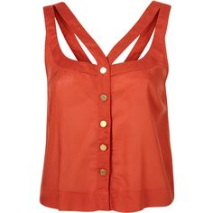 Gold Button Cutout Suntop ($46) ❤ liked on Polyvore featuring tops, shirts, tanks, tank tops, blusas, women, cutout shirt, button front shirt, red top and red tank top