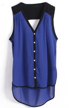 Blue V Neck Sleeveless Buttons Dipped Hem Blouse #SheInside
