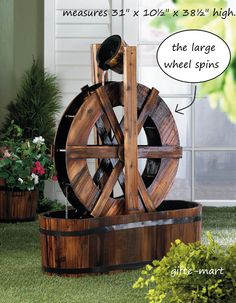 MOVING spinning WHEEL wood Barrel wagon country Outdoor Patio pond water Fountain kit