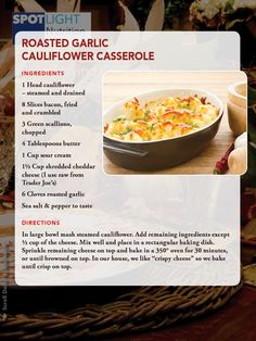 Cauliflower casserole (I'd like to see what this tastes like if I don't pre-steam the cauliflower or pre-roast the garlic)