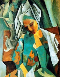 Pablo Picasso - Queen Isabella, 1908-09. Oil on canvas, 92 x 73 cm. Pushkin Museum, Moscow, Russia