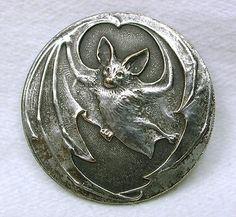 Old French Metal Button Art Nouveau Flying Bat Design