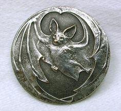 Old French Metal Button Art Nouveau Flying Bat Design