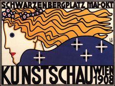 Vienna Art Show 1908 | by Berthold Löffer | Cultural Art Exhibition | Vienna, Austria | Vintage Retro Advertising Poster