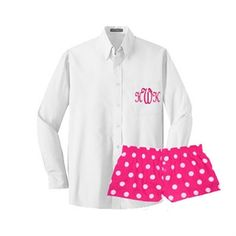 Ladies Bitty Boxer Pajama Boxer shorts Coordinates with monogrammed Button Down Oxfords for Wedding Day Bridal Party Getting Ready by Nolimonograms on Etsy
