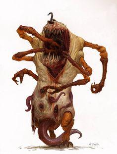 Art of adrian smith Fantasy Monster, Monster Art, Arte Horror, Horror Art, Creature Feature, Creature Design, Fantasy Creatures, Mythical Creatures, Dark Fantasy