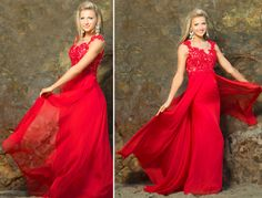 Red Beaded Lace Mesh Cap Sleeve Long #Prom Dress #uniqueprom
