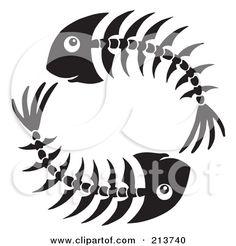 Circle Of Black And White Fish Bones Posters, Art Prints