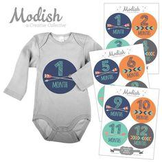 Arrows Orange Tribal Baby Boy Month Stickers
