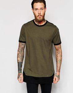 ASOS | ASOS Super Oversized Sleeveless T-Shirt With Contrast Hem Extender In Monochrome at ASOS