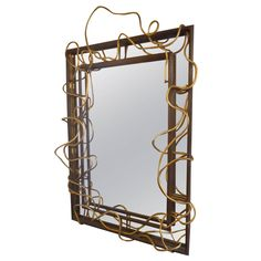 Substantial Modernist  Mirror | From a unique collection of antique and modern wall mirrors at https://www.1stdibs.com/furniture/mirrors/wall-mirrors/