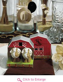 97098432f1c Complete your next upcoming western themed wedding with these miniature cow  candles in novelty barn gift box! Each white and brown candle resembles an  ...
