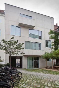 Büro, Berlin, Chipperfield, Hofansicht, Beton, Fassade