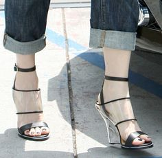 """Gwen Stefani in Camo Jacket and Awful L.A.M.B. """"Fiby"""" Clear Vinyl Wedges"""