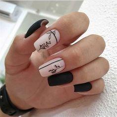 "book nails. en Instagram: ""#uñas #decoradas #chicas #hermosas #manicura #nails #decorated."" Best Acrylic Nails, Acrylic Nail Designs, Nail Art Designs, Nails Design, Black Nail Designs, Stylish Nails, Trendy Nails, Neutral Nail Art, Short Square Nails"