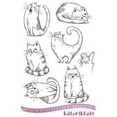 Tampon scrapbookingLes chats russes, non monté. Caoutchouc rouge naturel. Planche de 7tampons. Thème: chats. Dimension de la planche:14 x 20 cm - Katzelkraft