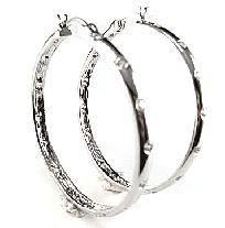 White CZ Hoop Fashion Earrings, Designer Inspired