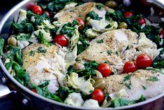 One Pot Braised Chicken, Rice, and Artichokes
