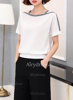 Blusas Poliéster Elegante Manga corta Escote cuadrado Liso (1045603)    Vestidos Sud 95b411e746a